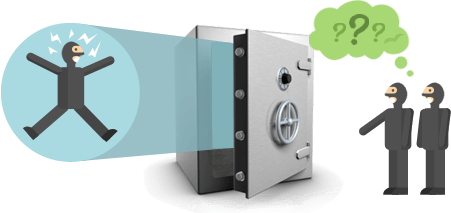 Encrypted data stored in a bank safe